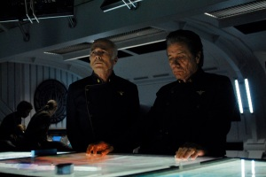 Tigh (Michael Hogan) and Adama (Edward Lee Olmos), SCI FI Channel Photo: Carole Segal
